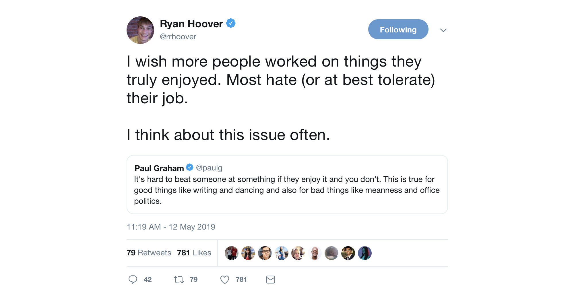A tweet from Ryan Hoover